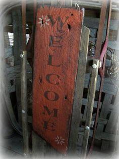 "reclame Barn wood Primitives | HP Primitive, Rustic, Antique barn wood, upcycled ""Welcome"" sign. Fall ..."