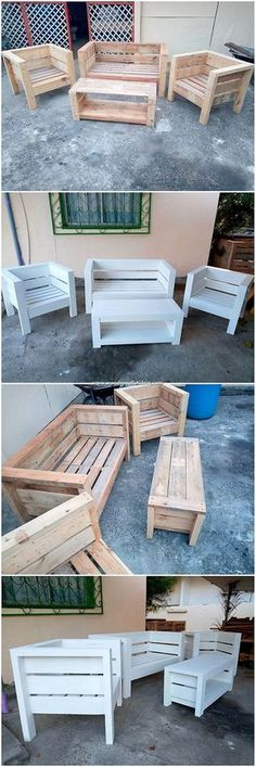 Fantastic Looking DIY Wooden Pallet Creations - Wooden Pallet Ideas - Creative designing project of the pallet outdoor furniture has been arranged out here for you where - Outdoor Furniture Plans, Diy Garden Furniture, Diy Pallet Furniture, Diy Pallet Projects, Woodworking Furniture, Furniture Projects, Furniture Design, Wood Patio Furniture, Wood Chairs