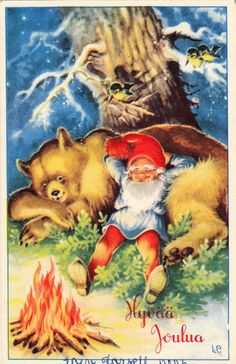 Lars Carlsson ~ Good times - gnome and bear Christmas Gnome, Christmas Art, Christmas Pictures, Christmas Sayings, Vintage Christmas Cards, Vintage Cards, Illustrations, Illustration Art, Kobold