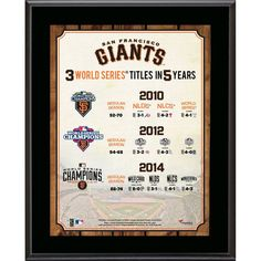 """San Francisco Giants Fanatics Authentic 10.5"""" x 13"""" 2014 World Series Champions Three Championships in Five Years Plaque"""