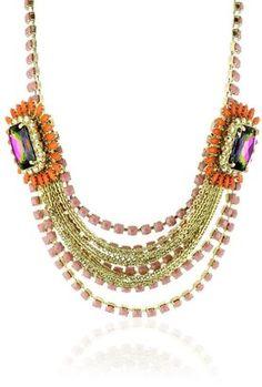 "Rodrigo Otazu ""DNA"" Layers of Rose Pink and Orange Floral Necklace"