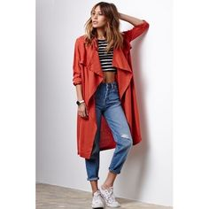 [Boutique]oversized trench Let the weather fuel your fashion with this on-trend elongated jacket from Honey Punch. This jacket features a classic styling constructed with wide lapels, a collared neckline and solid coloring. Details: Longline jacket, wide lapels, open front, storm flap. 100% rayon. Care Instructions: Hand wash with cold water. No PayPal + No Trades. Jackets & Coats Trench Coats