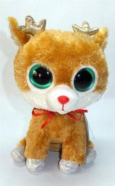 TY Beanie Baby Boo's ALPINE Christmas Holiday Reindeer Stuffed Plush Bean Animal