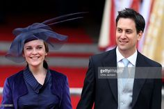 Leader of the Labour Party Ed Miliband (R) and Justine Thornton exit following…