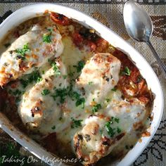 Cheesy Chicken Bake from Rachel Ray.  Easy. 4 Chicken breasts, chopped tomatoes, fontina. Like mild chicken cacciatore.