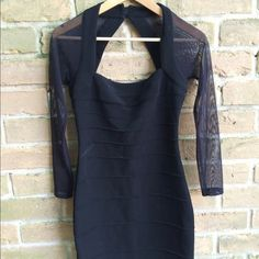 VS Black Party Dress Victoria Secret Sexy Black stretchy party dress with sheer sleeves size small (2-4) Victoria's Secret Dresses Mini