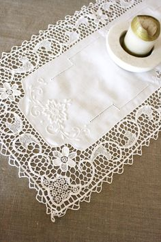 French Vintage Embroidered Cotton Table Runner with Matching Round Table Mat. €25.00, via Etsy.