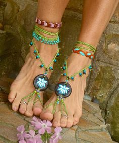 belly dance LOTUS flower BAREFOOT sandals bohemian HIPPIE black with green lace hula hooping yoga dance foot jewelry