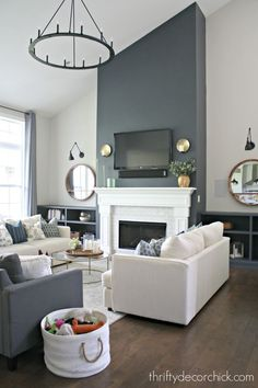 Our finished family room transformation! - Our finished family room transformation! Informations About Our finished family room transformation! Diy Living Room Decor, Coastal Living Rooms, My Living Room, Living Room Designs, Home Decor, Small Living, Living Spaces, Living Room Built Ins, Living Room Shelves