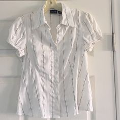 Cute fitted shirt Cotton Express stretch white with grey ribbons career shirt, size medium.  Cap sleeves with puff pleats and little buttons. Cotton Express Tops