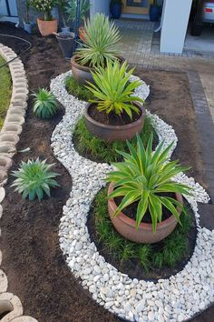 20 DIY garden decor ideas - - Looking for decorating ideas for the garden? Check these 20 DIY garden decor ideas that will surely increase the beauty of your garden. Hunting is more your hobby DIY garden decor idea details. Big Potted Plants, Outdoor Plants, Outdoor Gardens, Small Gardens, Modern Gardens, Outdoor Garden Decor, Zen Gardens, Diy Garden Decor, Rock Garden Design