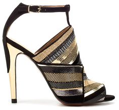 Brown, black & gold woven shoe with gold heel.