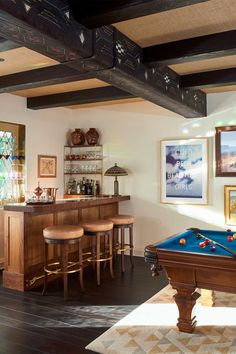 We're spotlighting 38 chic home bar ideas to inspire you. Whether you want to build out a home bar, or just want to turn part of your kitchen counter into one, we've got ideas to help you make it happen below. Game Room Design, Playroom Design, Playroom Decor, Playroom Ideas, Basement Ideas, Basement Inspiration, Attic Playroom, Basement Bars, Basement Designs