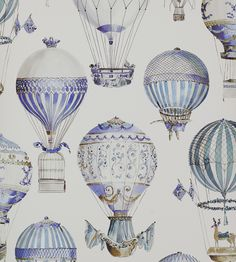 2 rolls – Cowtan & Tout Manuel Canovas wallpaper L & # Envol Ciel – French designer wallpaper / wall covering – vintage hot air balloons – Wall Paper 2020 Air Ballon, Hot Air Balloon, Buch Design, Wall Wallpaper, Designer Wallpaper, Illustration, Pattern Design, Prints, Steampunk