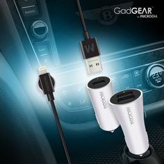 GadGEAR Car Charger + Charging Cable. Quick Charge 3.0 USB Car Charger. MFi-Certified Lightning Cable. Dash Magnet for cable management.