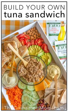 Build-Your-Own Tuna Sandwich Board • Easy Stew Recipes, Healthy Soup Recipes, Easy Dinner Recipes, Grilled Sandwich Recipe, Whole Wheat Rolls, Easy Weeknight Meals, Easy Meals, Cold Sandwiches, Sandwich Board