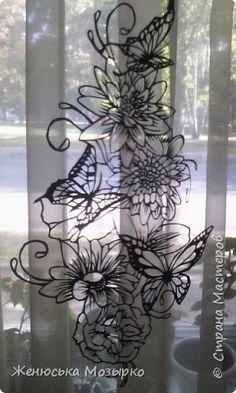 Картина панно рисунок Вырезание А бабочка порхала над цветком вытынанка Бумага фото 6