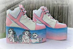 Hand painted little pony inspired platform by PastelDreamShoes