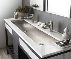 Copper Trough 48 in Brushed Nickel: hand hammered copper trough sink by Native Trails