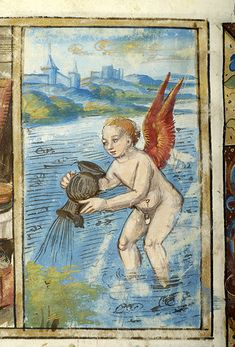 Aquarius - Psalter - France, Paris between 1495 and 1498 - The Morgan Library & Museum Aquarius Art, Zodiac Signs Aquarius, Age Of Aquarius, Zodiac Art, Zodiac Symbols, Medieval Books, Medieval Art, Tarot, Renaissance