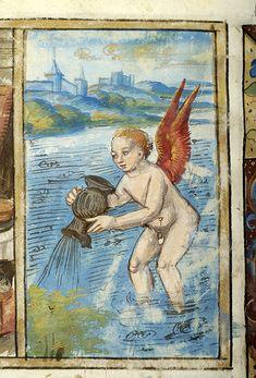Aquarius - Psalter - France, Paris between 1495 and 1498 - The Morgan Library & Museum Aquarius Art, Age Of Aquarius, Zodiac Signs Aquarius, Medieval Books, Medieval Art, Zodiac Symbols, Zodiac Art, Tarot, Renaissance