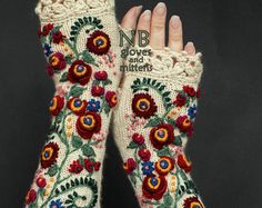 """culturenlifestyle: """" Adorable Handmade Fingerless Gloves by Natalija Bran Lithuanian artist Natalija Bran's favorite hand-crafts include crochet, knitting and paper art, which are lovingly inspired by her three daughters. Bran's most popular pieces. Diy Tricot Crochet, Crochet Gloves Pattern, Hand Crochet, Crochet Lace, Hand Knitting, Knitting Patterns, Crochet Patterns, Fingerless Gloves Knitted, Knit Mittens"""