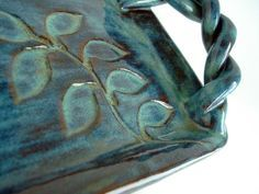 Small stoneware tray, Rectangle ceramic platter, Carved pottery with twisted handles and leaves
