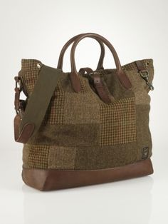 d4763274a8f6 Polo Ralph Lauren Wool Tweed Leather Patchwork Tote Bag Patchwork Bags
