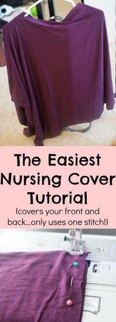 easy-nursing-cover-tutorial #ClarksCondensed Baby Sewing Projects, Sewing Tutorials, Sewing Tips, Sewing Ideas, Best Nursing Cover, Nursing Poncho, Nursing Cover Scarf, Nursing Dress, Breastfeeding Cover