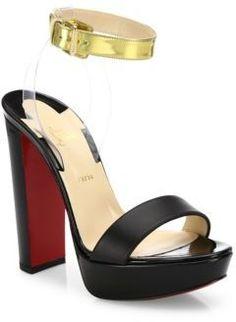 3ec92fa09e0 Christian Louboutin Cherry Patent Leather   PVC Ankle-Strap Sandals