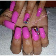 #mynails by #latoyasdayspa #caymanislands #naildesigns #pinknaildesigns #gemnaildesigns