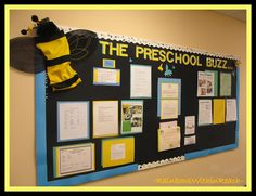 photo of: Buzz Bumble Bee Bulletin Board via RainbowsWithinReach Preschool Parent Board, Preschool Bulletin Boards, Kindergarten Classroom, Classroom Themes, Classroom Organization, Preschool Activities, Holiday Classrooms, Bullentin Boards, News Bulletin