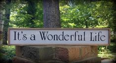Its A Wonderful Life Sign - the very favorite of so many. Add a touch to your home decor by placing this sign, above a door or window, on the wall, or give as a gift! The approximate size of the sign is 25 x 4 x Farmhouse Kitchens, Rustic Farmhouse, Fall Entryway Decor, Small Porches, Wood Signs For Home, Wreaths And Garlands, Its A Wonderful Life, Dorm Decorations, Porch Decorating