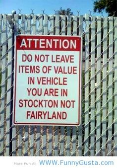 Funny sign image - do not leave things of value in your car!