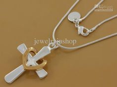 Wholesale new exquisite fashion 925 silver charm Beautiful Elegant cross 18KRGP heart Love necklace jewelry, Free shipping, $2.45-4.72/Piece | DHgate
