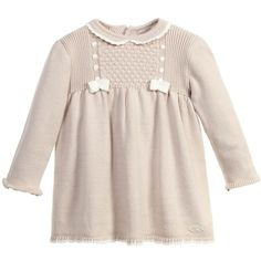 Mayoral Newborn Baby Girls Beige Knitted Dress (£29) ❤ liked on Polyvore