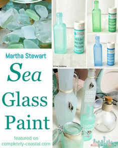 Martha Stewart Sea Glass Paint for Glass Jars, Bottles and Vases. To give Glass the Frosted Seaglass Look. Permanent Sea Glass Paint Color that Lasts. Tutorials and Shopping Sources featured at Completely Coastal. Glass Bottle Crafts, Sea Glass Crafts, Sea Glass Art, Bottle Art, Decorative Glass Bottles, Sea Glass Decor, Crafts With Glass Jars, Seaglass Spray Paint, Spray Paint For Glass