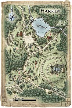A map of a village with landlord's mansion/castle. (Harken)