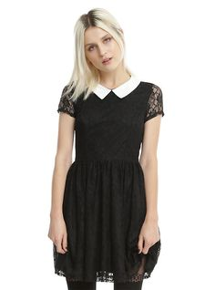 Black & White Collar Lace Dress, BLACK