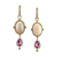 Diy Opal Earrings, Opal Jewelry, Fine Jewelry, Drop Earrings, Tourmaline Jewelry, Fancy Earrings, Gold Jewellery, Unique Jewelry, Jewelry For Her