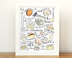 Mother's Day Gifts - Kitchen home decor - Gift for mom Foodie GIft Art Print 'French Cheeses' 8x10 art print Yellow Orange. $25.00, via Etsy.