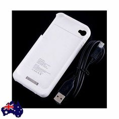 White External Battery 1900mAh Charger Case Cover 4 iPhone 4 4G 4S Extra Power