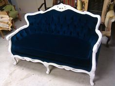 I'm picturing lint galore, but this is gorgeous! Blue Velvet Loveseat  Navy Blue White Frame Sofa by metrosofa, $2519.00