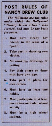 Rules of the Nancy Drew Club... This seems to be sending mixed signals. Oh, 1939.