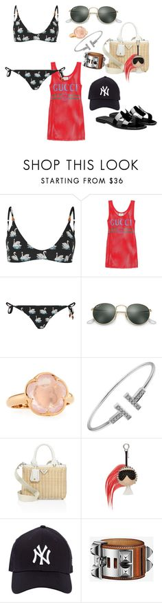 """Beach in Santorini"" by liloham ❤ liked on Polyvore featuring STELLA McCARTNEY, Gucci, Ray-Ban, Pasquale Bruni, Tiffany & Co., Prada, Fendi and New Era"