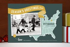 Holiday Map Postcard - via Minted (Online shop for ordering cards)