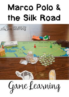 To make our Marco Polo Silk Road game even more hands-on, we used aluminium foil, felt, silky fabric, green stones, and porcelain tiles as our trade goods. Plus, we had to buy food to eat along the way. Could we sell our goods for a good price back in Ven