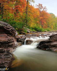 Bonanza Falls on a rainy autumn day. Complementary colors of rock along the Big Iron River, and fall colors ablaze. Fall In Michigan, State Of Michigan, Lake Michigan, Michigan Waterfalls, Awsome Pictures, Picture Rocks, Great Lakes Region, Silver City, Lake Huron