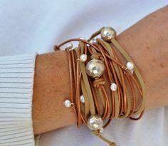 Leather Pearl Bracelet, Sterling Silver Cuff, Boho Chic Bracelet, Silver Choker, Leather Wrap Necklace