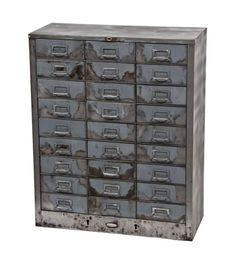 Urban Remains Chicago :: intact american vintage industrial brushed metal folded steel cabinet containing 27 pull-out drawers